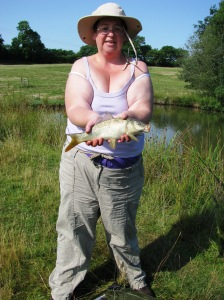 Liz with the first fish of the day – Common Carp ca 1.25lb